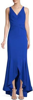 Shoshanna Satin V-Neck Mermaid Gown