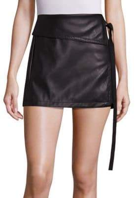 N°21 Faux Leather Side Tie Skirt