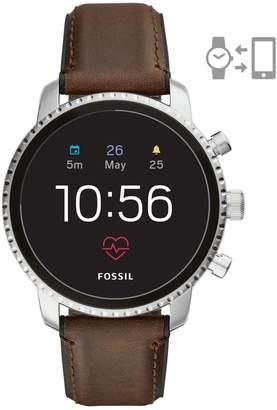 Fossil Q Explorist HR Leather-Strap Gen 4 Touchscreen Smart Watch