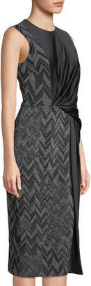 Jason Wu Sleeveless Satin/Ponte Combo Sheath Dress
