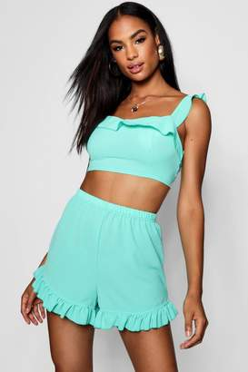 boohoo Tall Frill Co-ord Crop Top Set