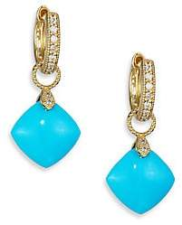 Jude Frances Women's Classic Turquoise, Diamond& 18K Yellow Gold Cushion Earring Charms