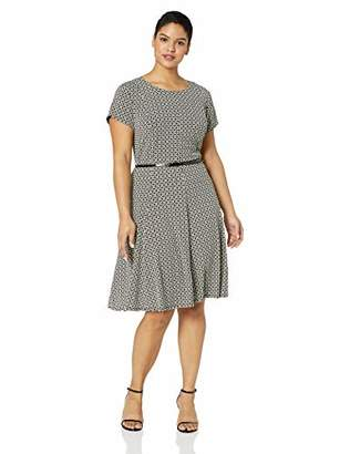 56cdbbea7f7eb Jessica Howard Plus Size Womens Cap Sleeve Fit and Flare Dress