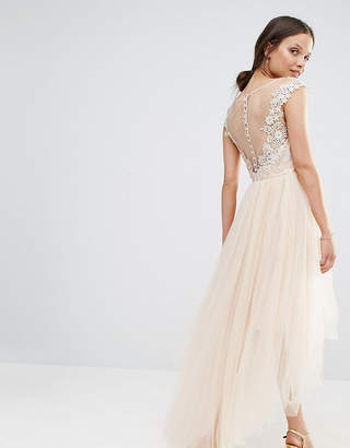 Chi Chi London Petite Lace Scallop Back High Low Midi Dress With Tulle Skirt
