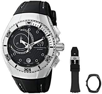 Technomarine unisex Quartz Watch with Black Dial Chronograph Display and Black Silicone Strap 114031