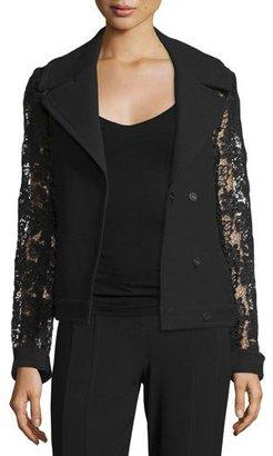 Elie Tahari Dena Lace & Crepe Combo Pea Coat, Black $498 thestylecure.com