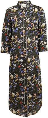 R 13 Floral Print Cowboy Maxi Dress