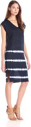 Velvet by Graham & Spencer Women's Tie Die Stripe Print Linen Jersey Midi Dress