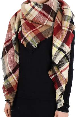 Wenseny Womens Scarves Wrap Classic Plaid Winter Warm Square Long Scarf