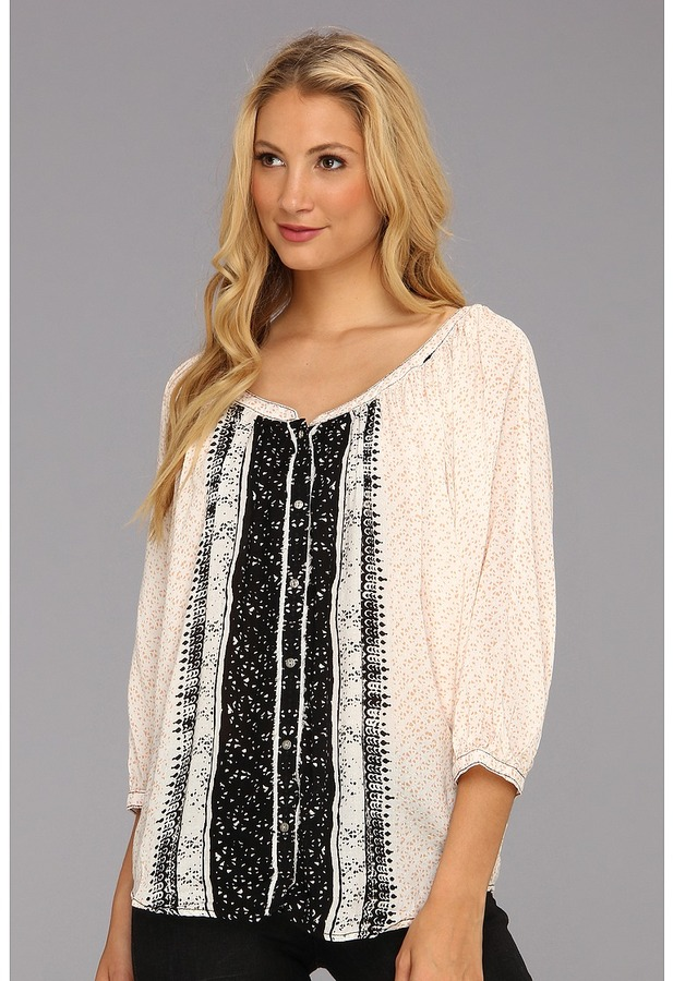 Free People Printed Textured Rayon Days Of Romance Top (Ivory Combo) - Apparel