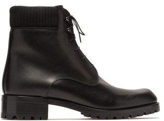 Christian Louboutin Trapman Lace Up Leather Boots - Mens - Black