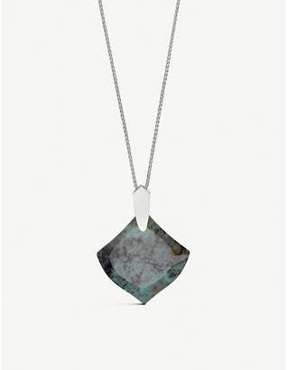 Kendra Scott Aislinn rhodium plating and African turquoise stone necklace