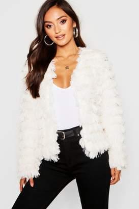 boohoo Petite Tiered Faux Fur Jacket