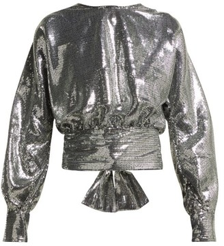 MSGM Open Back Sequin Blouse - Womens - Silver