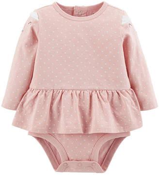 Carter's Doubledecker Bear Peplum Bodysuit- Baby Girl
