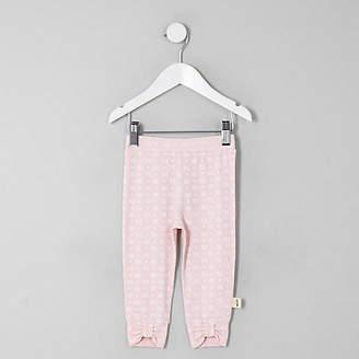 River Island Mini girls pink RI print bow hem leggings
