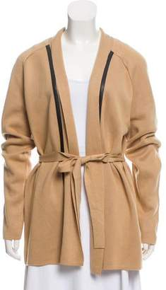Calvin Klein Collection Leather-Trimmed Belted Cardigan