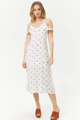 Forever 21 Polka Dot Open-Shoulder Dress