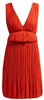 Chloé Plisse Crepe Mini Dress - Womens - Dark Orange