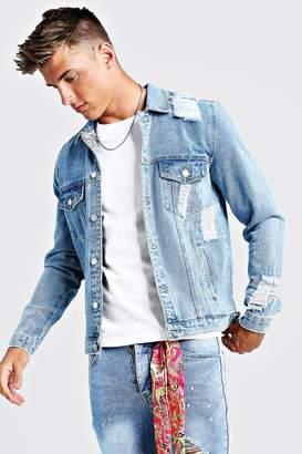 boohoo Denim Jacket With Bandana Repair