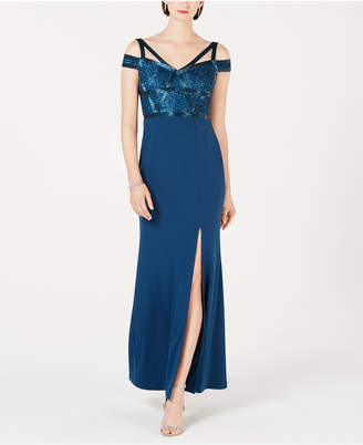 Adrianna Papell Petite Beaded Cold-Shoulder Gown
