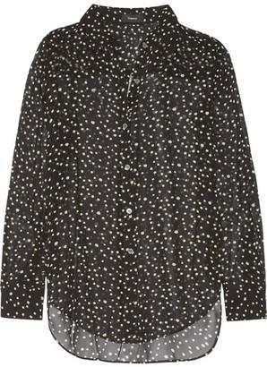Theory - Sunaya Printed Silk-chiffon Blouse - Black $275 thestylecure.com