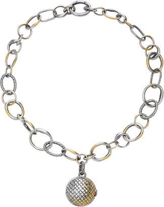 Bottega Veneta Antique Silver Ball Locket Necklace