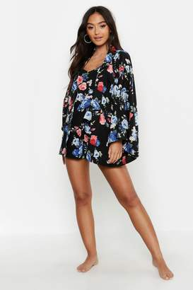 boohoo Petite Floral Dressing Gown