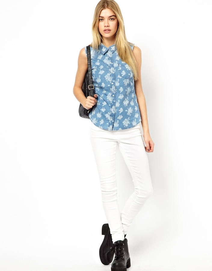 Only Sleeveless Shirt In Printed Denim