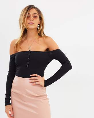 Missguided Button Front Bardot Bodysuit