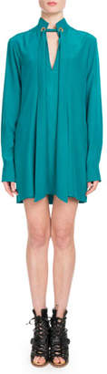Chloé Long-Sleeve Open-Neck Silk Crepe de Chine Short Dress w/ Ring Scarf Detail