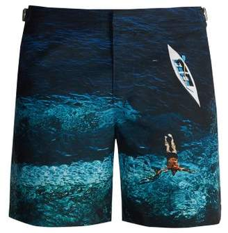 Orlebar Brown Bulldog Photographic Wave Print Swim Shorts - Mens - Blue Multi