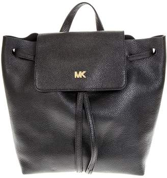 MICHAEL Michael Kors Black Leather Backpack With Metal Logo