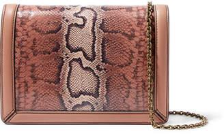 Bottega Veneta Montebello Leather-trimmed Karung Shoulder Bag - Antique rose