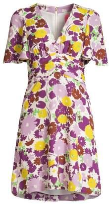 Kate Spade Floral Plisse A-Line Swing Dress