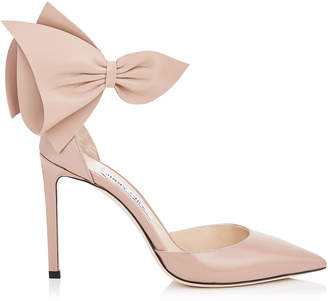 Jimmy Choo KELLEY 100 Ballet Pink Patent Pointy Toe Pumps with Nappa Leather Bow Detailing