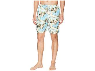 True Grit Waterman Paradise Drawstring Swim Boardshorts w/ Mesh Lining Men's Swimwear