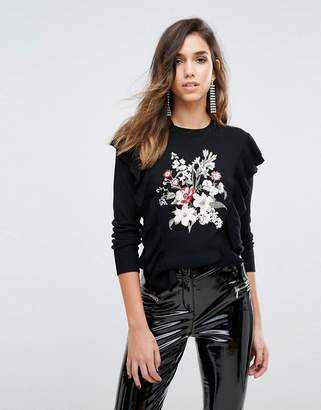 Miss Selfridge Embroidered Frill Detail Jumper