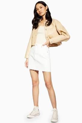 Topshop Womens White Denim Mini Skirt - White