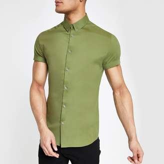 River Island Mens Green muscle fit short sleeve shirt