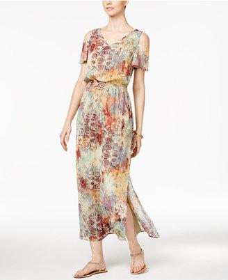 Nine West Printed Cold Shoulder Maxi Dress $89 thestylecure.com