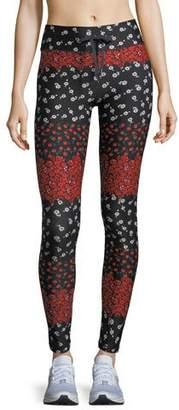 The Upside Drawstring Floral-Print Compression Yoga Pants