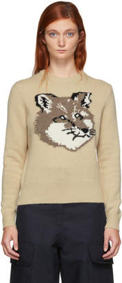 MAISON KITSUNÉ Beige Wool Fox Head Pullover