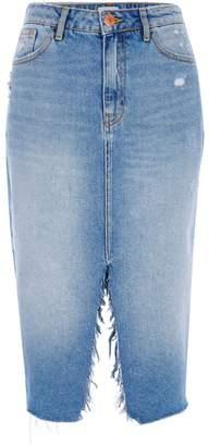 River Island Womens Mid Blue split front midi denim skirt