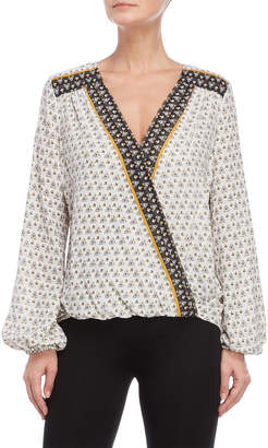 Max Studio Printed Surplice Long Sleeve Top