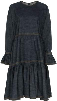 Valentino tiered denim midi-dress