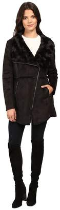 Jessica Simpson Faux Shearling Moto Jacket with Asymmetrical Zip Women's Coat