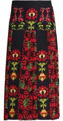 Outlet Discount Stella Jean Woman Satin-paneled Pleated Printed Velvet Maxi Skirt Black Size 40 Stella Jean Discount The Cheapest New Styles For Sale TP9wvOU3