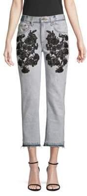 Embellished Frayed Cropped Jeans