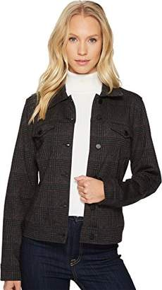 Liverpool Jeans Company Women's Classic Denim Jacket in Glenn Windowpane Ponte Knit